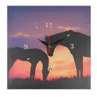 """Часы настенные, серия: Животный мир, на холсте """"Лошади на закате"""", 40х40 см"""