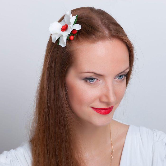 """Зажим для волос ручной работы """"Цветочный праздник"""" - фото 540577824"""