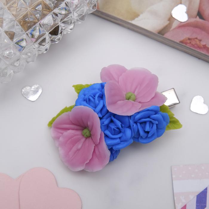 """Зажим для волос ручной работы """"Синие розы"""" - фото 683172635"""