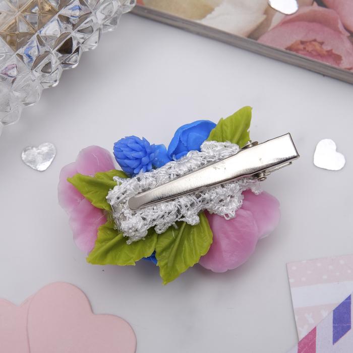 """Зажим для волос ручной работы """"Синие розы"""" - фото 448769719"""