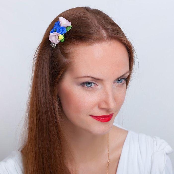 """Зажим для волос ручной работы """"Синие розы"""" - фото 448769720"""