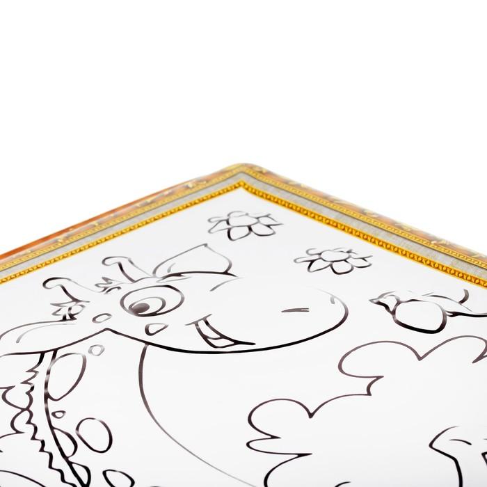 раскраска объемная жираф спортсмен из пластика с 5 фломастерами