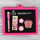 Double-sided magnetic Board, the marker and chalk, sponge, 3 PCs chalk, marker, magnets 2 PCs.