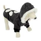 Куртка с капюшоном и мехом, размер XS (ДС 21 см, ОГ 33 см), черная