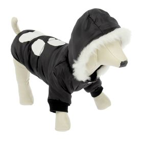 Куртка с капюшоном и мехом, размер L, черная