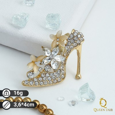 """Brooch """"Slipper"""", color milky white to gold"""