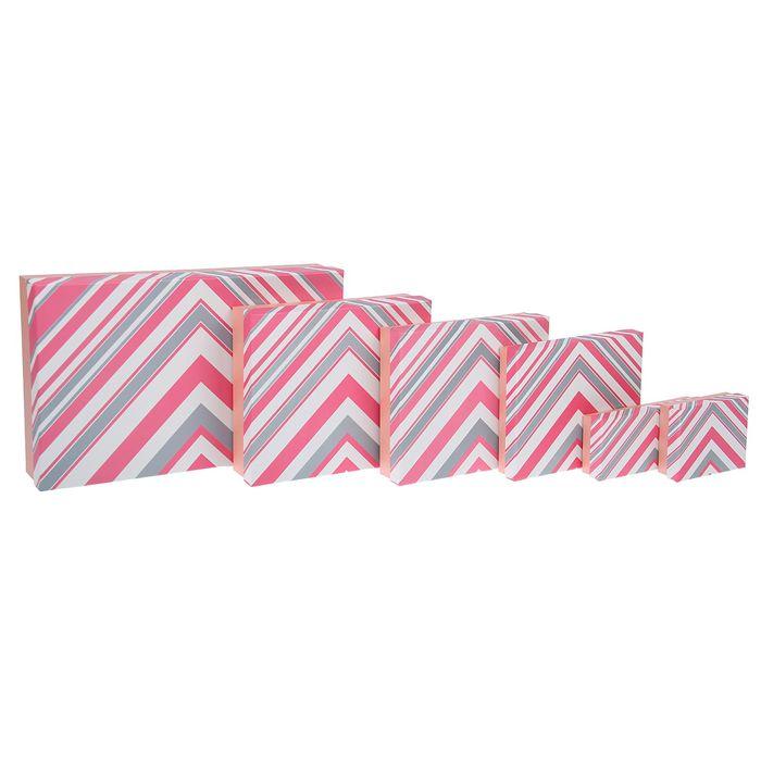 """Набор коробок 6 в 1 """"Зигзаги"""", розовый, 40 х 25 х 8 - 12 х 10 х 4 см"""