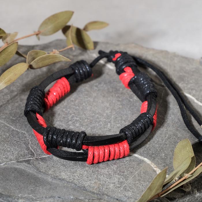 """Браслет мужской """"Сила"""" плетение, цвет чёрно-красный"""