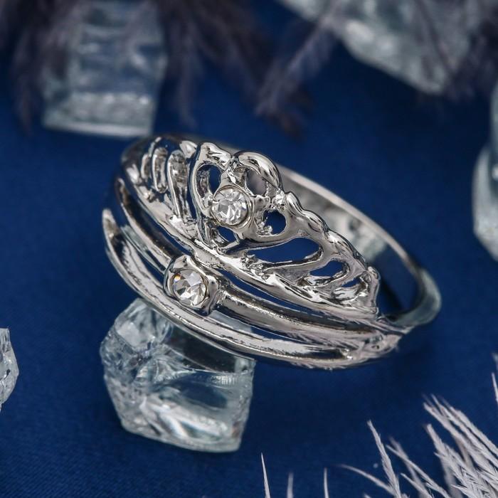 """Кольцо """"Циркон"""" корона принцессы, цвет белый в серебре, размер 17,18,19 МИКС"""