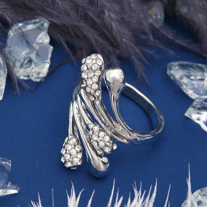 """Кольцо """"Абстракция"""" веточки с каплями, цвет белый в серебре, размер 17,18,19 МИКС"""