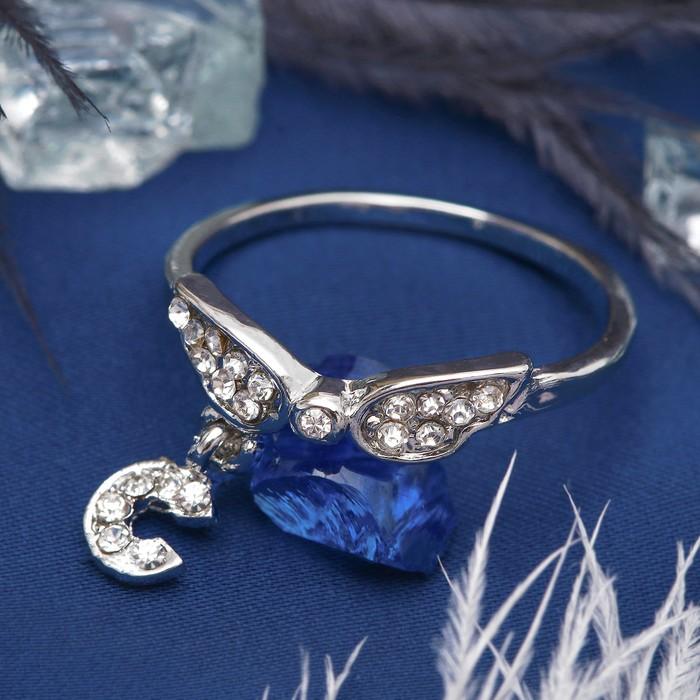 """Кольцо """"Бабочка"""" с подвеской, цвет белый в серебре, размер 17,18,19 МИКС"""
