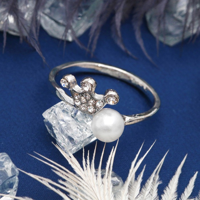 Кольцо ''Корона'' принцессы, цвет белый в серебре, размер 17,18,19 микс   1503252