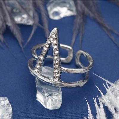 """Кольцо """"Геометрия"""", треугольник, цвет белый в серебре, безразмерное"""