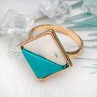 """Кольцо """"Инь и ян"""" прямоугольник, цвет голубо-белый в золоте, размер 17,18,19 микс"""