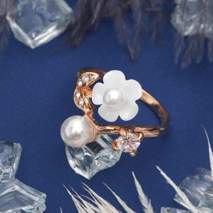 """Кольцо """"Циркон"""" цветок с жемчужинкой, лютик, цвет белый в золоте, размер 17,18,19 МИКС"""