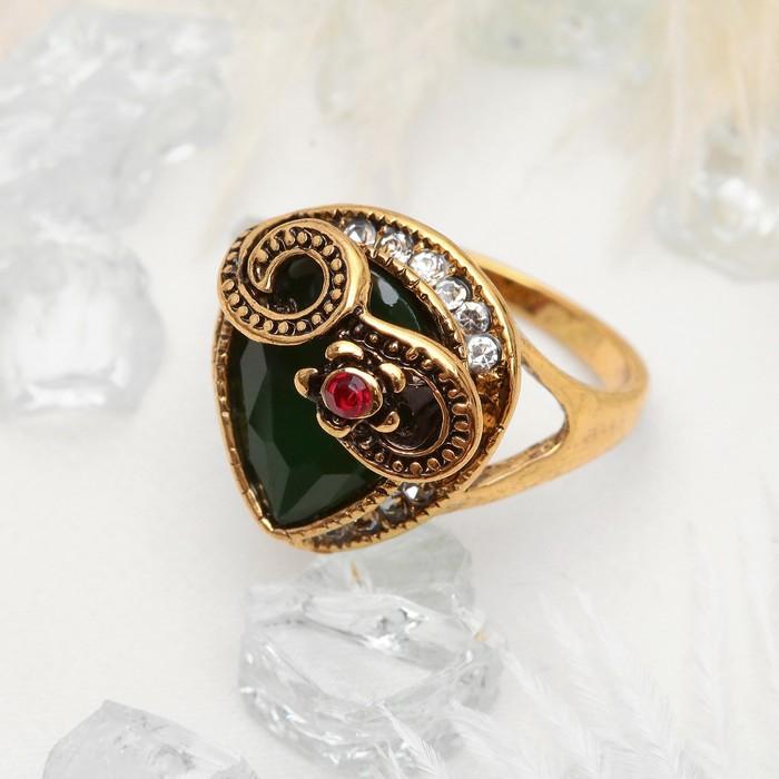 """Кольцо """"Царское"""" капля в завитках, цветное в чернёном золоте, размер 17,18,19 МИКС"""