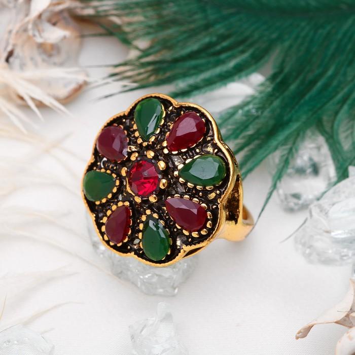 """Кольцо """"Цветок"""" винтаж, цвет красно-зеленый в чернёном золоте, размер 17,18,19 микс"""