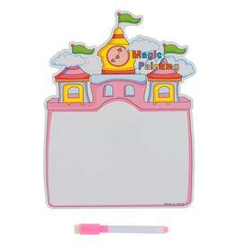 Доска для рисования 'Замок' + черный маркер со стиралкой цв. розовый Ош