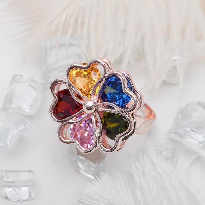 """Кольцо """"Циркон"""" цветок, скромный радужный, цветное в золоте, безразмерное"""