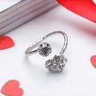 """Кольцо на фалангу """"Сердечко"""", цвет белый в серебре, безразмерное"""