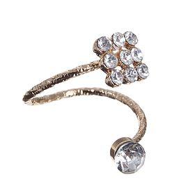 Кольцо на фалангу 'Классика' ромб, цвет белый в золоте, безразмерное Ош