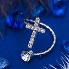 """Кольцо на фалангу """"Крестик"""", цвет белый в серебре, безразмерное"""