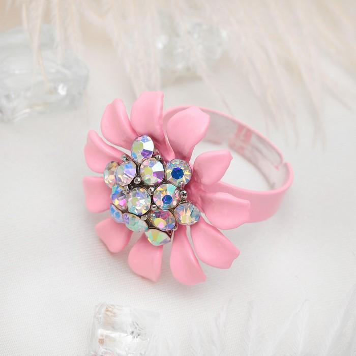 """Кольцо """"Цветок"""" герберы, цвет розово-радужный, безразмерное"""