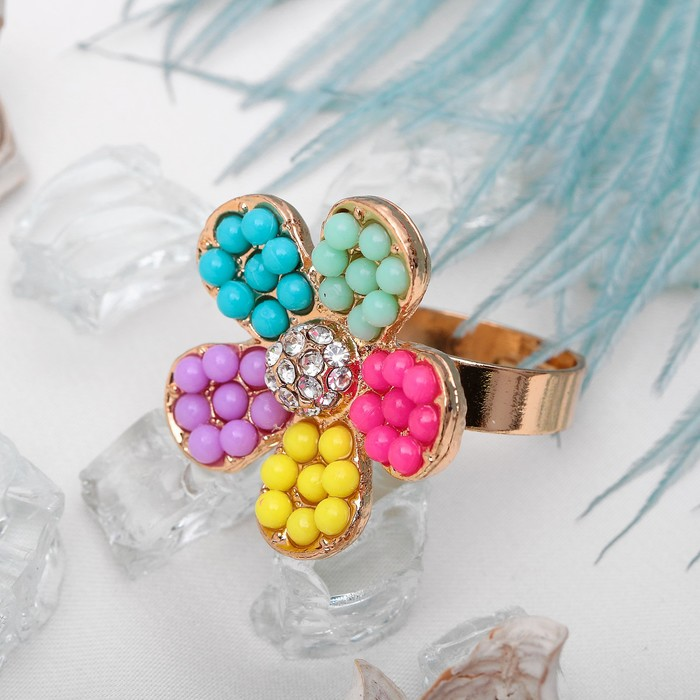 """Кольцо """"Витаминка"""", форма цветок, цветное в золоте, безразмерное"""