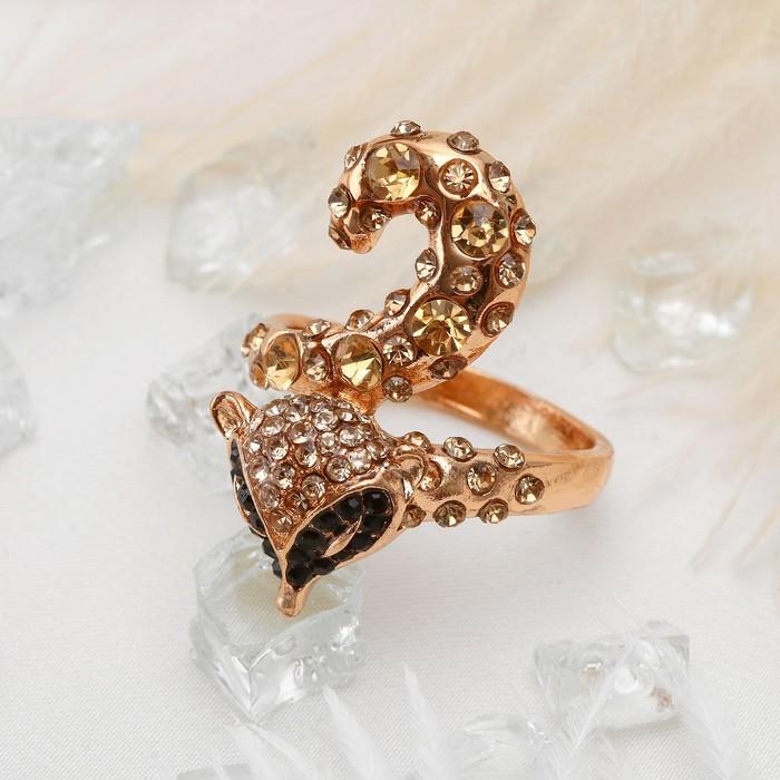 """Кольцо """"Лиса"""", цветное в золоте, размер 17,18,19 МИКС"""