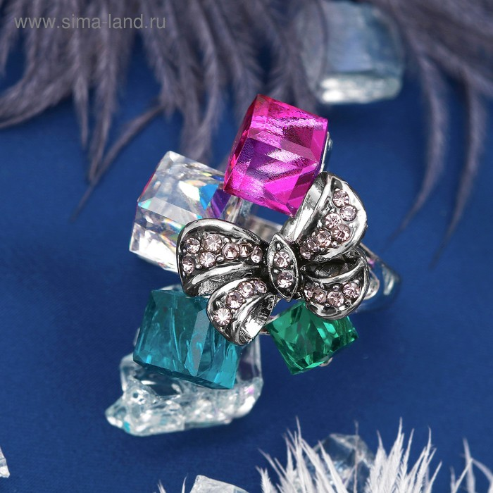 """Кольцо """"Бантик"""" в кубиках, цветное в серебре, размер 17, 18, 19 МИКС"""