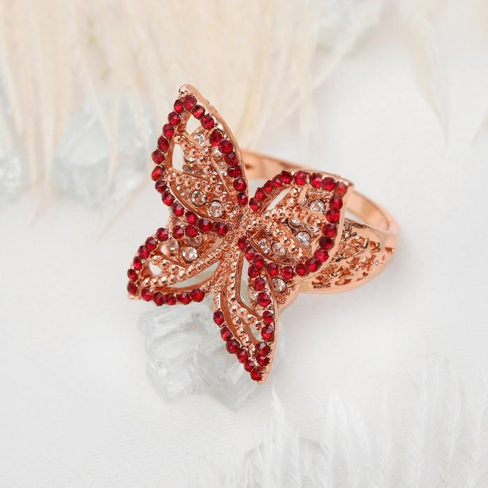 """Кольцо """"Бабочка"""" ажурная, цвет бело-красный в золоте, размер 17, 18, 19 МИКС"""