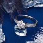 """Кольцо """"Циркон"""" венец, цветочек, цвет белый в серебре, размер 17, 18, 19 МИКС"""