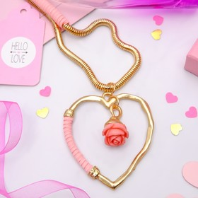 """Кулон """"Сердце"""" роскошь, цвет розово-золотой, 80 см"""