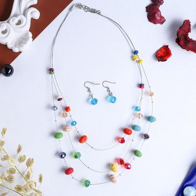 """Набор 2 предмета: серьги, бусы 3 нити """"Воздушный рай"""", цветной в серебре"""