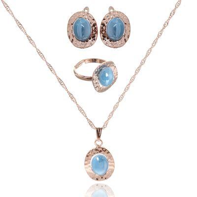 """Гарнитур 3 предмета: серьги, кулон, кольцо безразмерное """"Эдель"""" овал, цвет голубой в золоте, 45см"""