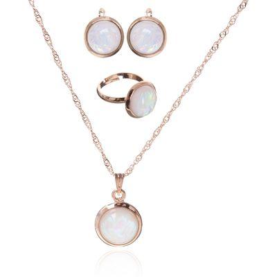 """Гарнитур 3 предмета: серьги, кулон, кольцо безразмерное """"Эдель"""" круг, цвет радужно-белый в золоте"""