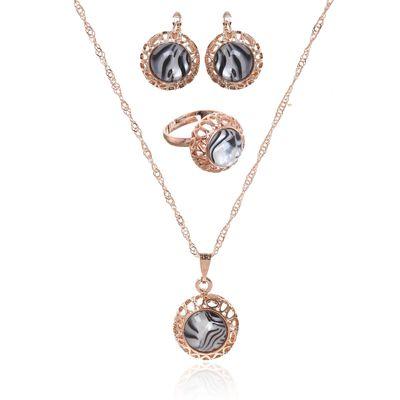 """Гарнитур 3 предмета: серьги, кулон, кольцо безразмерное """"Эдель"""" круг, цвет бело-чёрный в золоте, 45см"""