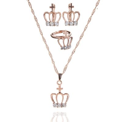 """Гарнитур 3 предмета: серьги, кулон, кольцо безразмерное """"Эдель"""" корона, цвет белый в золоте, 40см"""