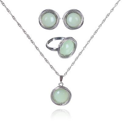 """Гарнитур 3 предмета: серьги, кулон, кольцо безразмерное """"Эдель"""" круг, цвет зелёный в серебре"""