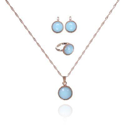 """Гарнитур 3 предмета: серьги, кулон, кольцо безразмерное """"Эдель"""" круг, цвет светло-голубой в золоте"""
