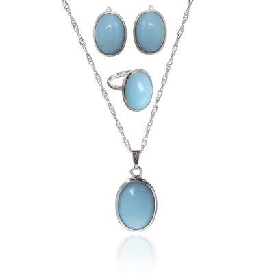 """Гарнитур 3 предмета: серьги, кулон, кольцо безразмерное """"Эдель"""" овал, цвет молочно-голубой в серебре, 45см"""