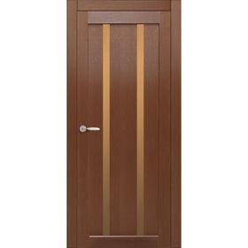 Дверное полотно остекленное Сицилия Каштан, бронза лабиринт 2000х600