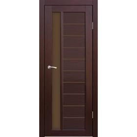 Дверное полотно остекленное Корсика Каштан, бронза лабиринт 2000х600