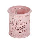 Стакан для пишущих принадлежностей круглый узор металл Бабочки розовый