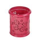 Стакан для пишущих принадлежностей, круглый, узор, металлический, «Бабочки», ярко-розовый