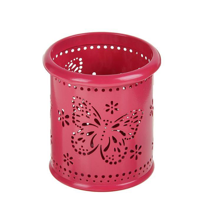 Стакан для пишущих принадлежностей круглый узор металл Бабочки ярко-розовый