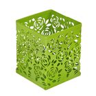 Стакан для пишущих принадлежностей квадратный узор металл зеленый