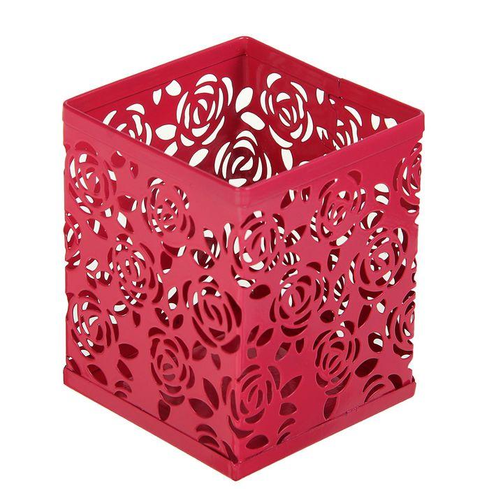Стакан для пишущих принадлежностей, квадратный, узор, металлический, ярко-розовый