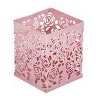 Стакан для пишущих принадлежностей квадратный узор металл розовый