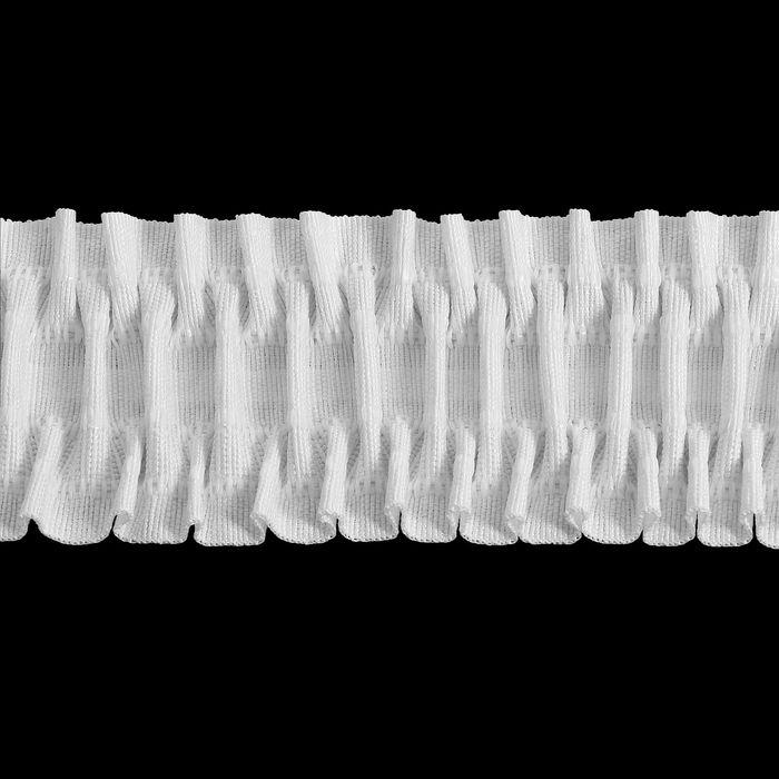 Лента шторная широкая, ширина 75мм, 3м, цвет белый